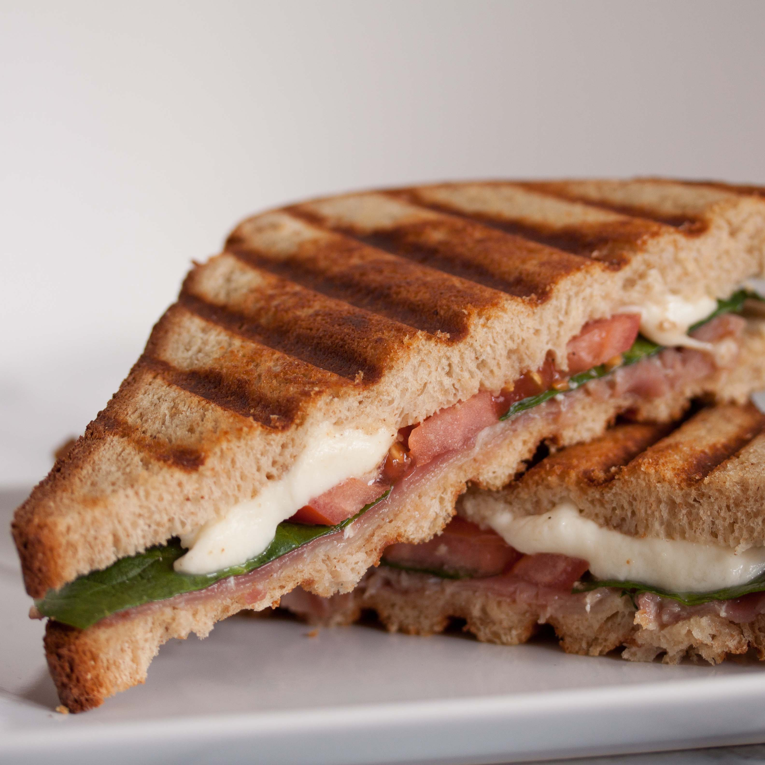 prosciutto, mozzarella, tomato, and spinach panini