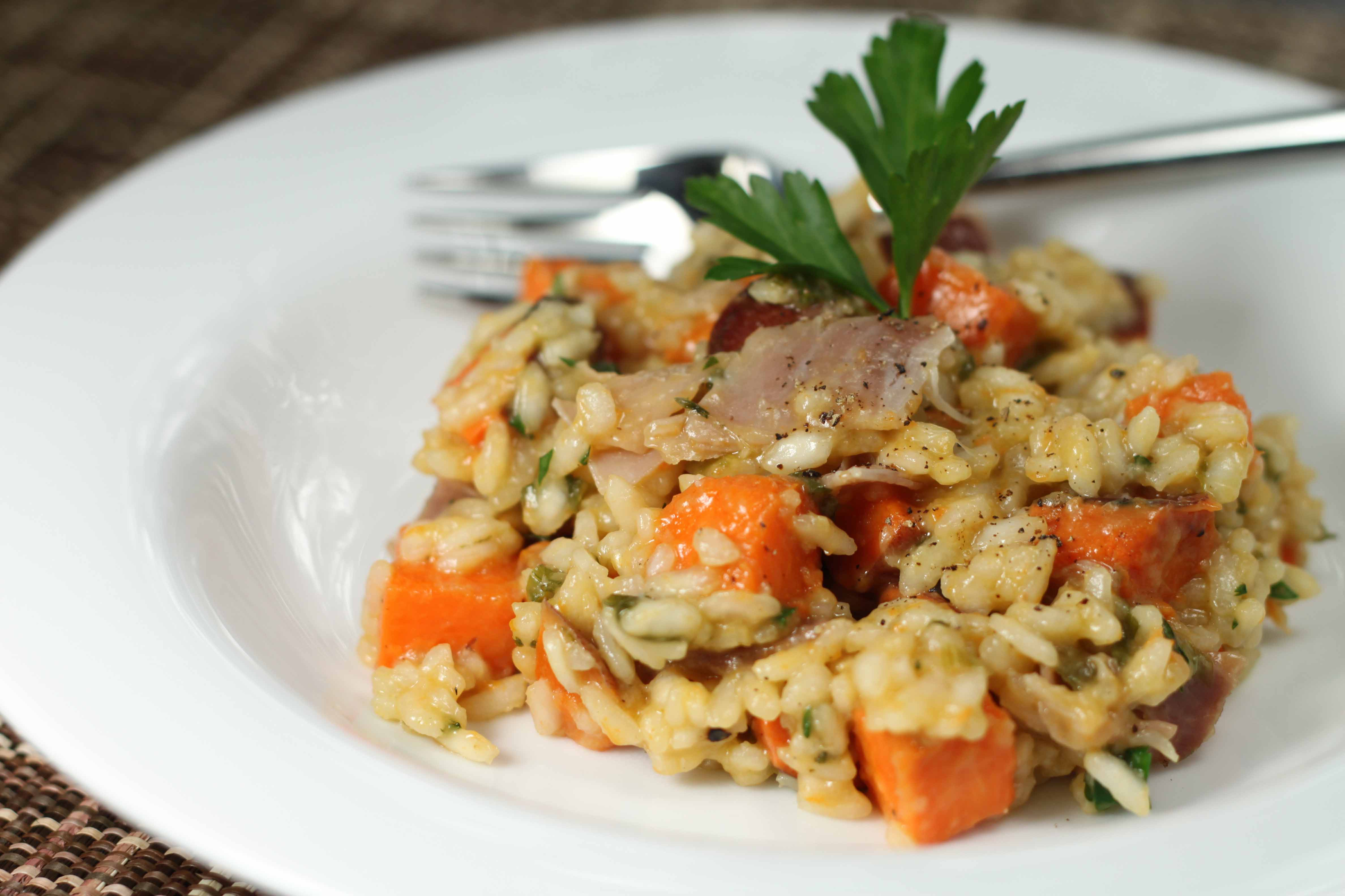 prosciutto and sweet potato risotto