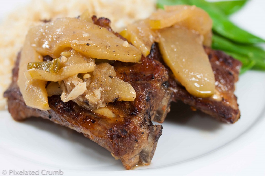 Adobo Baby Back Ribs with Apples and Jalapenos
