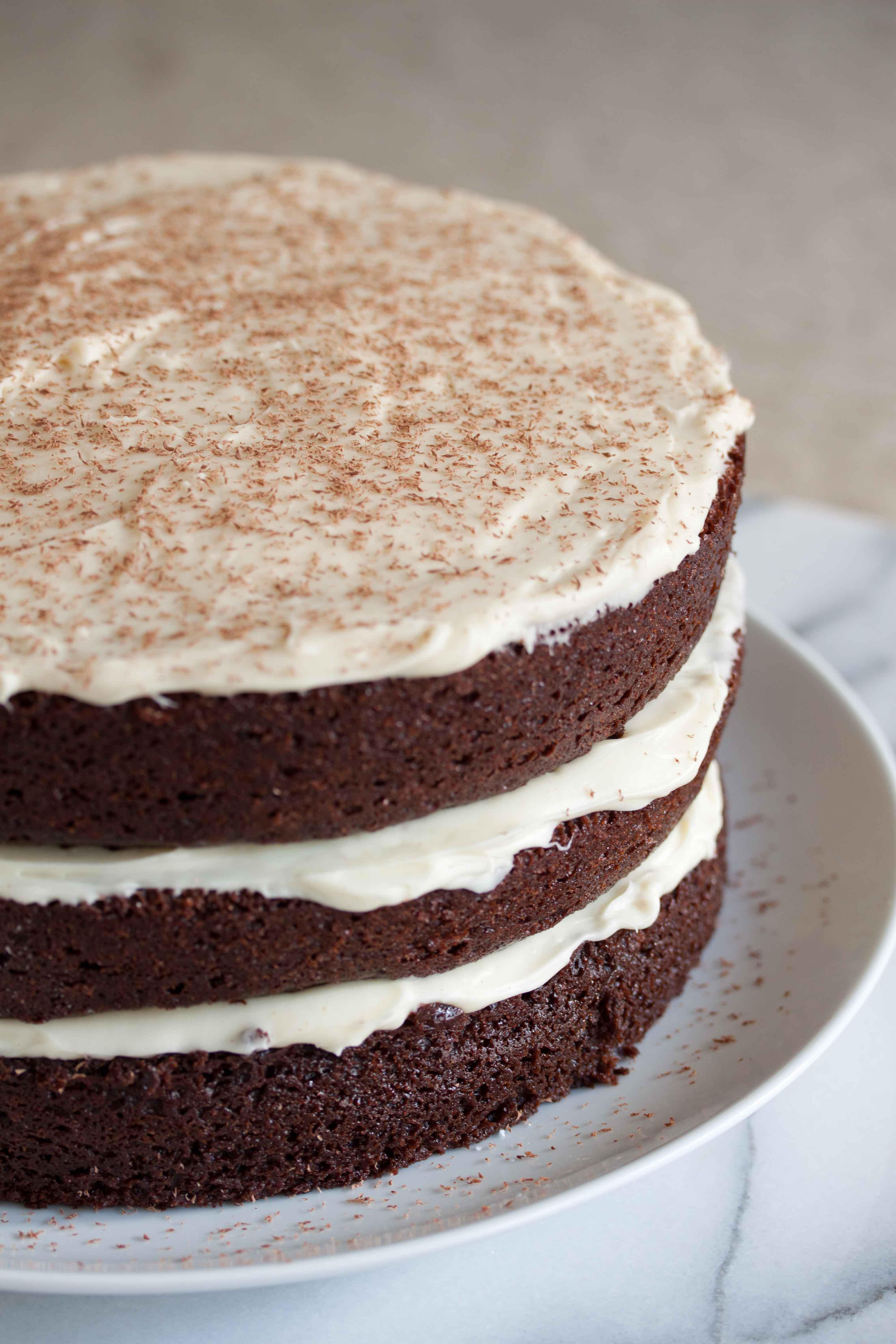 Chocolate cake recipe with white frosting
