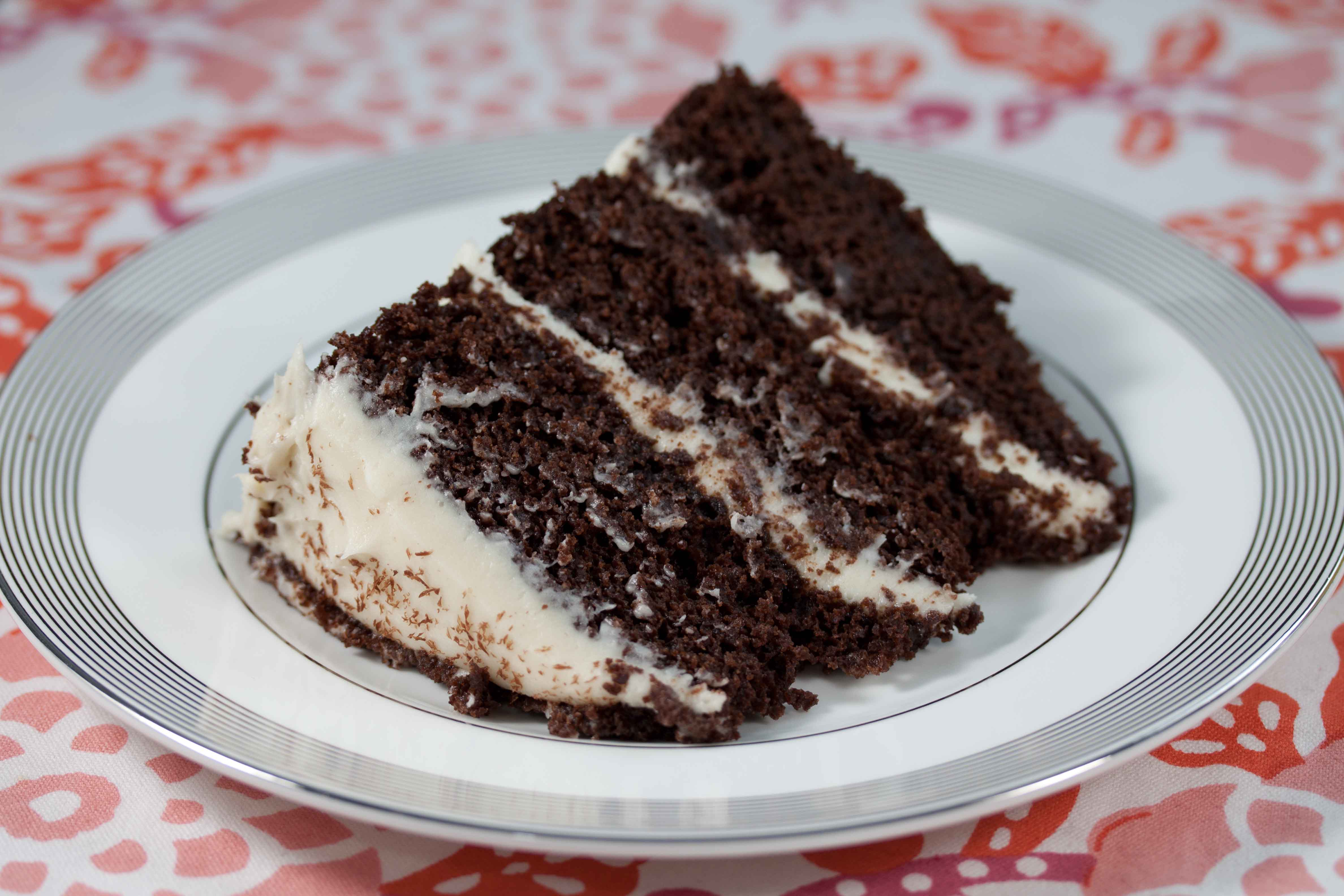 chocolate cake with white chocolate cream cheese frosting