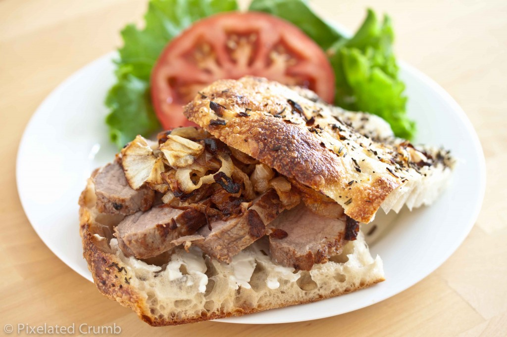 Bifano 5 1024x682 bifana   sliced pork tenderloin with caramelized onions and garlic aioli on focaccia