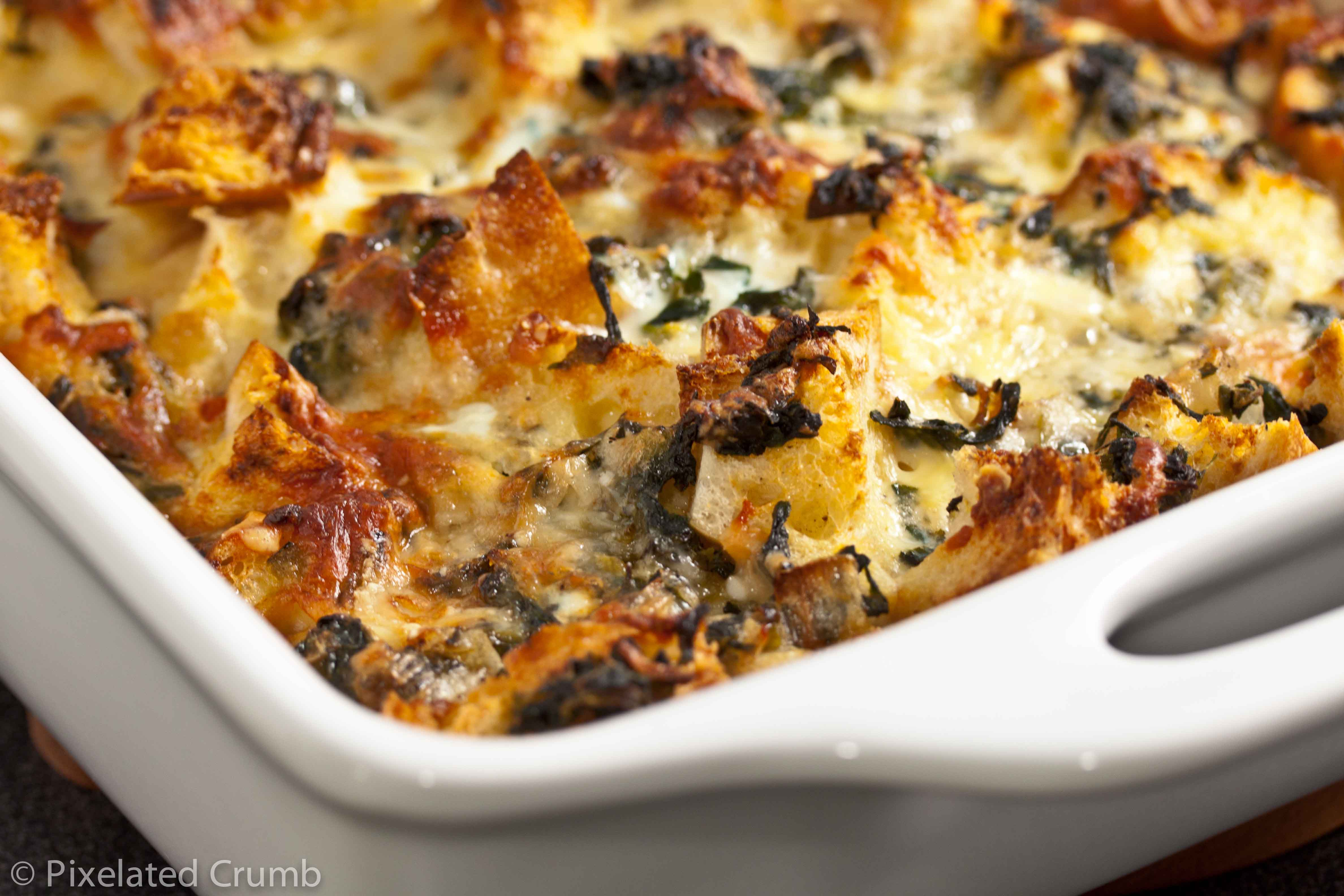 spinach and cheese strata | Pixelated Crumb