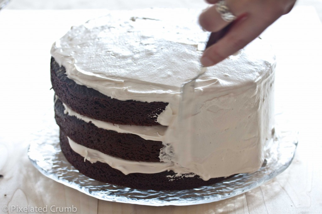 Chocolate Cake with Marshmallow Frosting 2 1024x682 three layer chocolate cake with marshmallow frosting