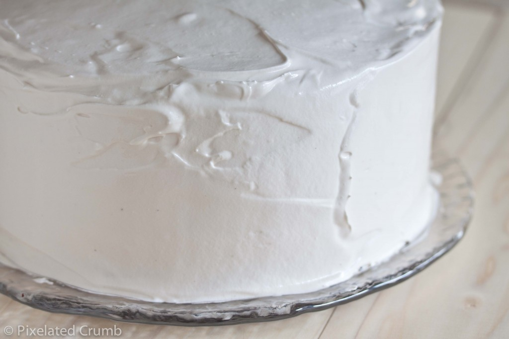 Chocolate Cake with Marshmallow Frosting 3 1024x682 three layer chocolate cake with marshmallow frosting