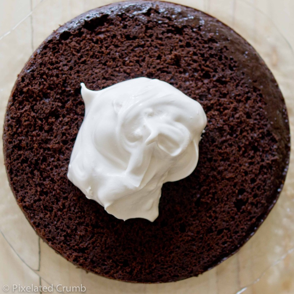 Marshmallow Frosting on Chocolate Cake