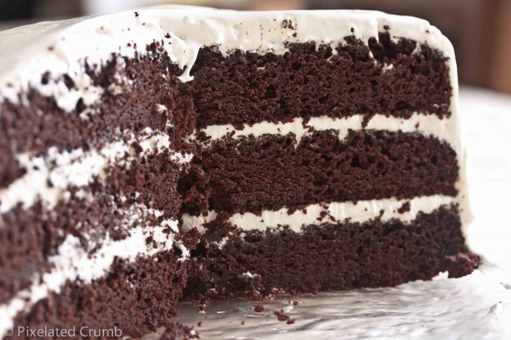 Chocolate Cake with Marshmallow Frosting 7 1024x682 three layer chocolate cake with marshmallow frosting