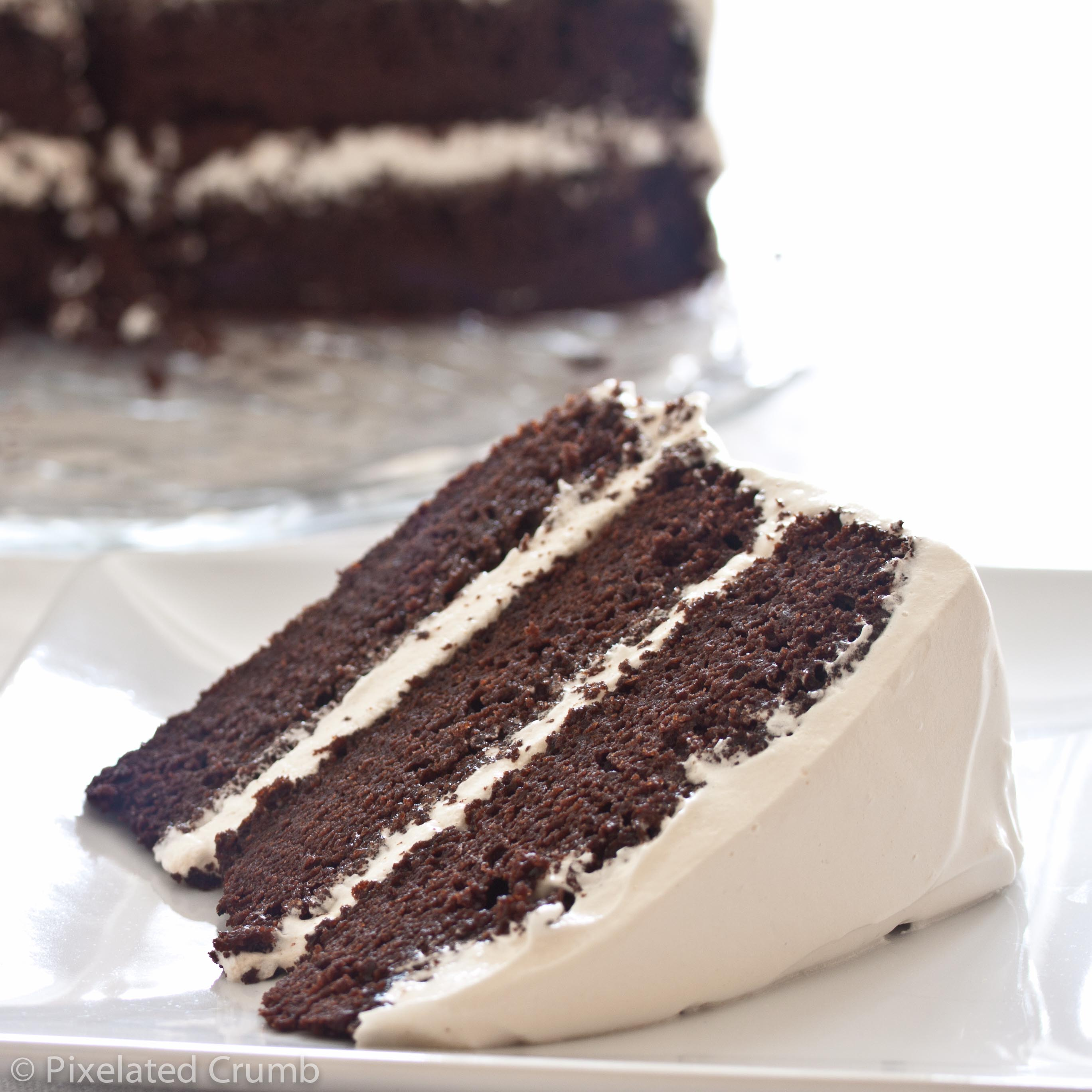 Three Layer Chocolate Cake with Marshmallow Frosting | Pixelated Crumb