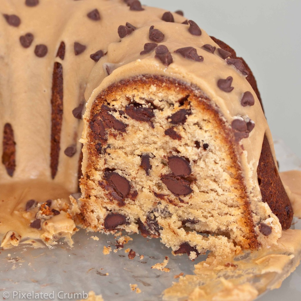 Chocolate Chip Peanut Butter Cake with Peanut Butter Glaze