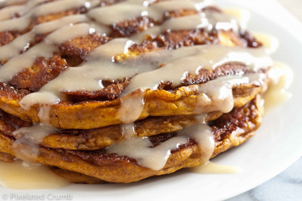 Pumpkin Cinnamon Roll Pancakes 6 1024x682 pumpkin cinnamon roll pancakes
