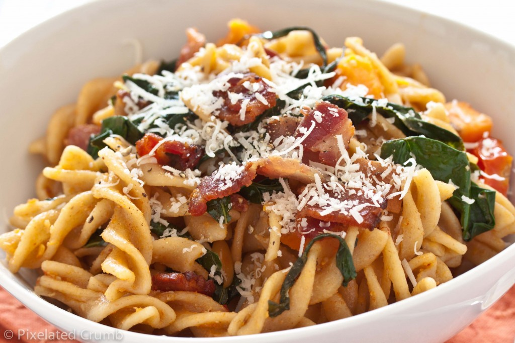 Pasta with Sweet Potatoes, Tomatoes, Garlicky Kale, and Bacon