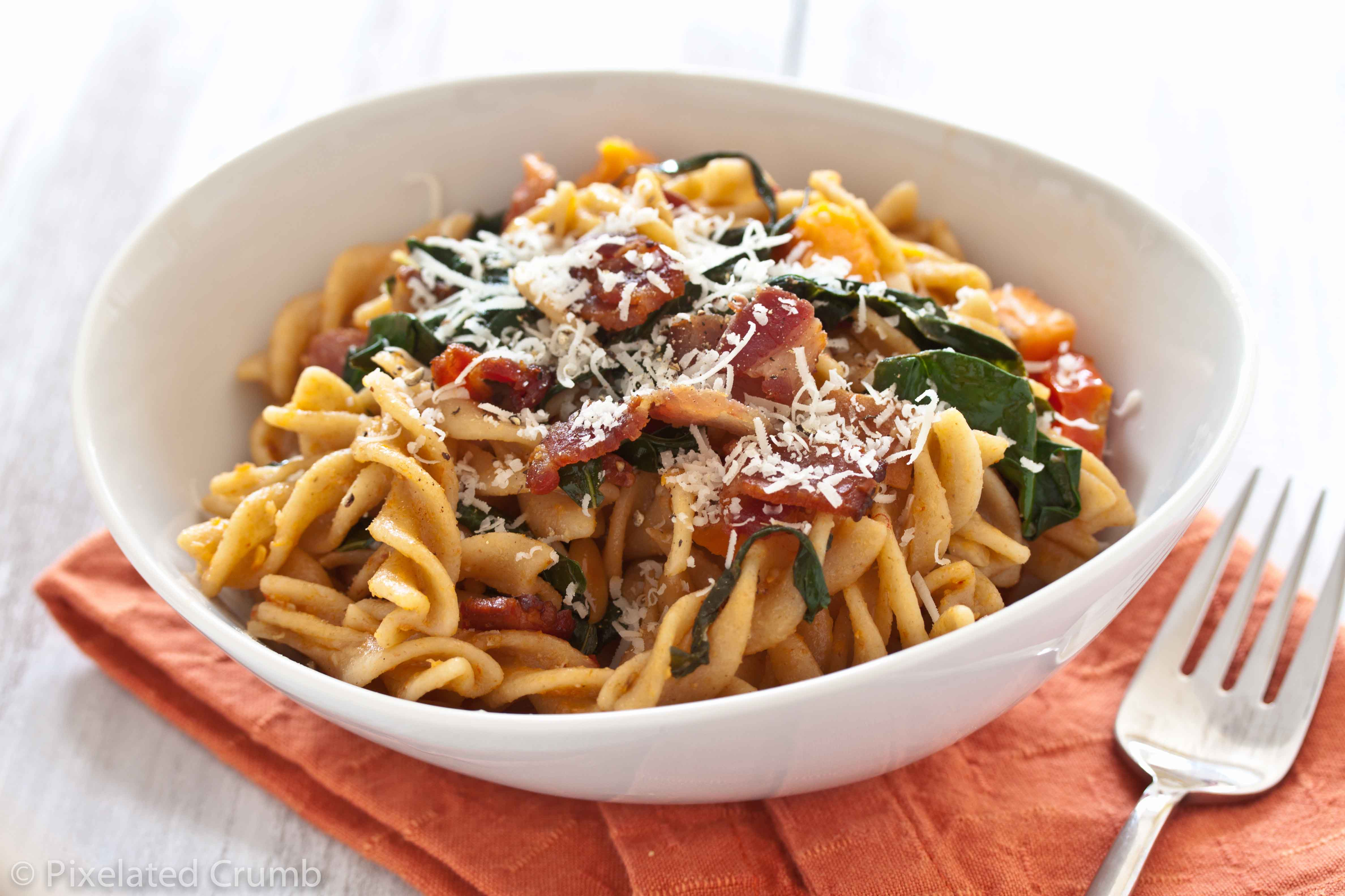 sweet potato garlicky kale pasta 3 pasta with sweet potatoes, tomatoes, garlicky kale, and bacon