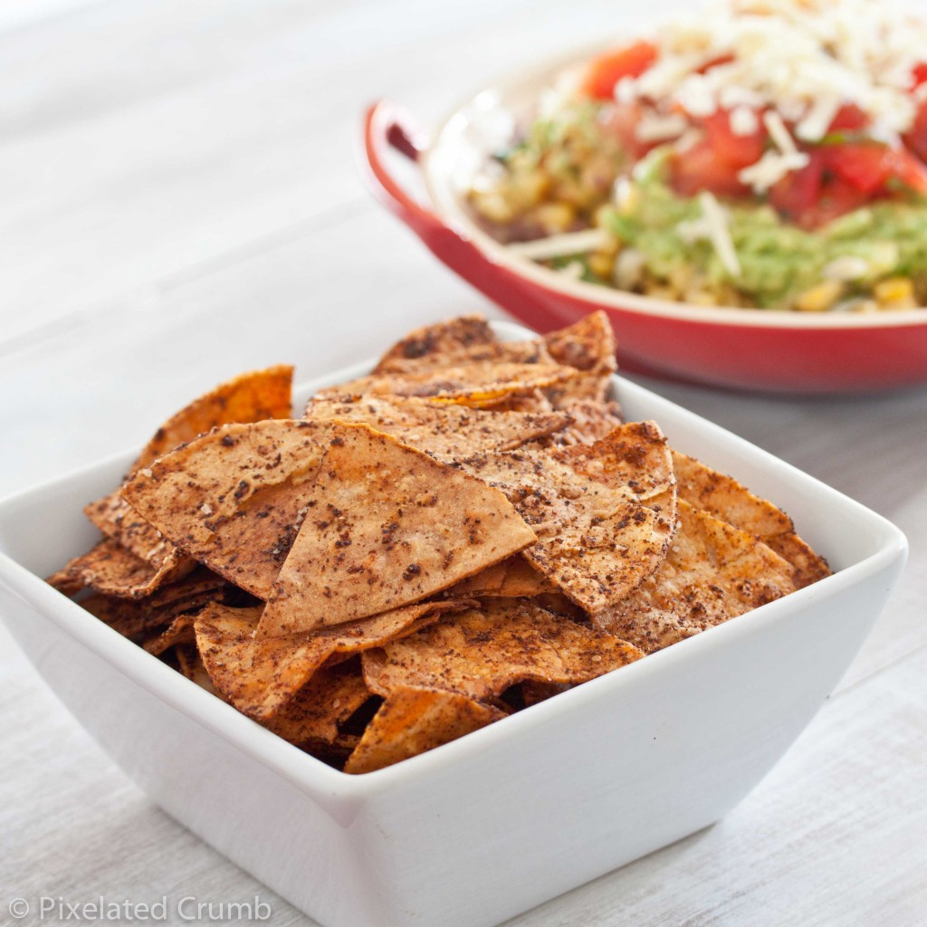 Baked Chili Tortilla Chips and Healthy Five Layer Dip