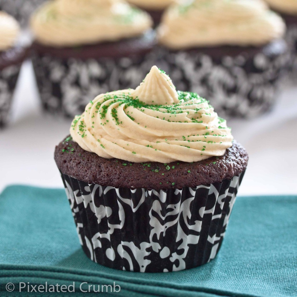 Chocolate Stout Cupcakes with Whiskey Ganache Filling and Irish Cream Frosting