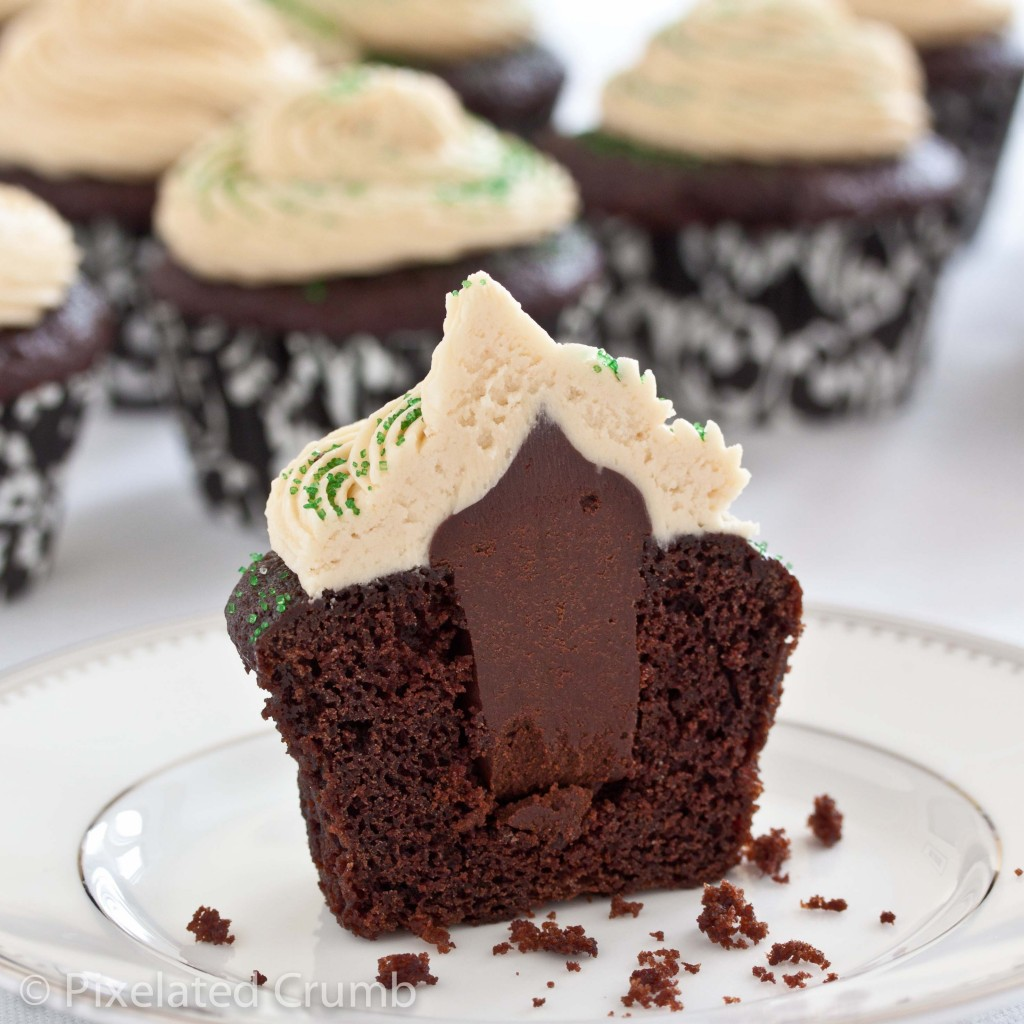 chocolate stout cupcakes with whiskey ganache filling and irish cream frosting I first made these cupcakes a couple of years ago when my sister and brother-in-law visited around St. Paddy's day (Tip: don't be a daft eejit and say St. Patty's Day).Servings: