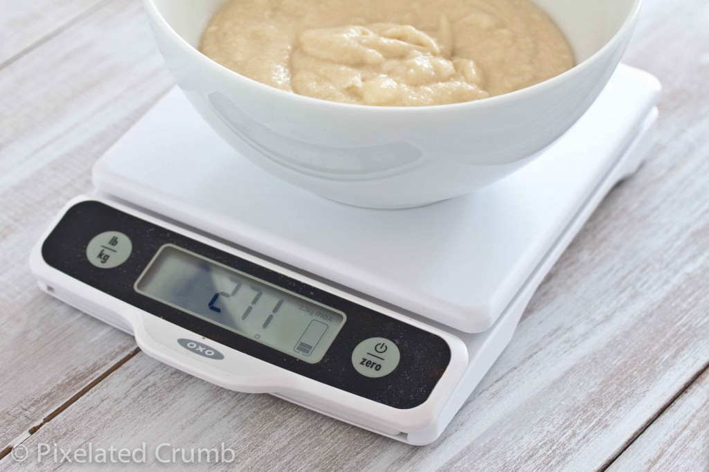 Weighing Batter on OXO Scale