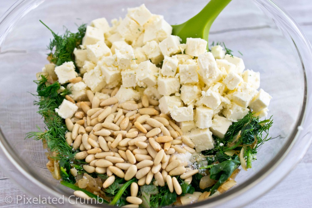 Spinach, pine nuts, feta, and dill