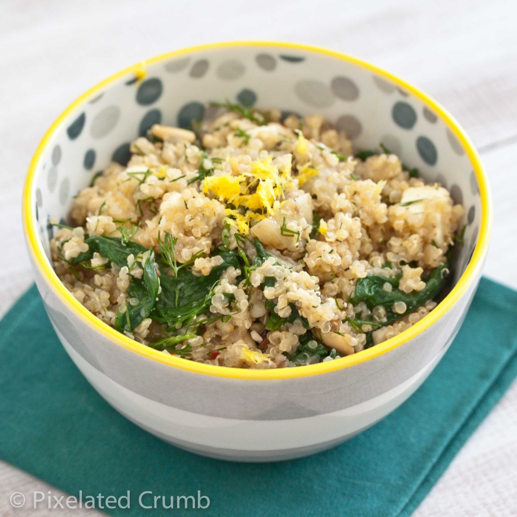 quinoa w spinach 5 1024x1024 quinoa salad with spinach, feta, and dill