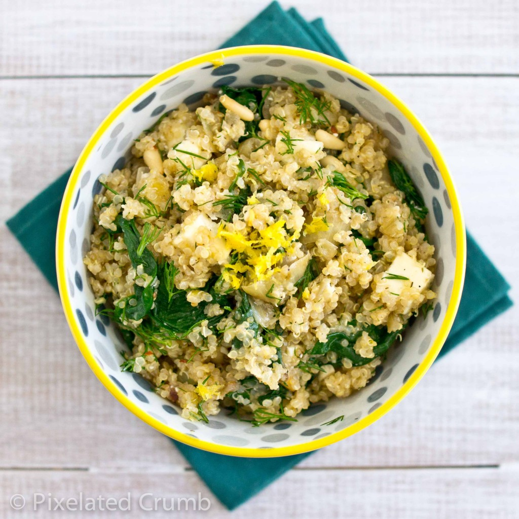 quinoa w spinach 83 1024x1024 quinoa salad with spinach, feta, and dill