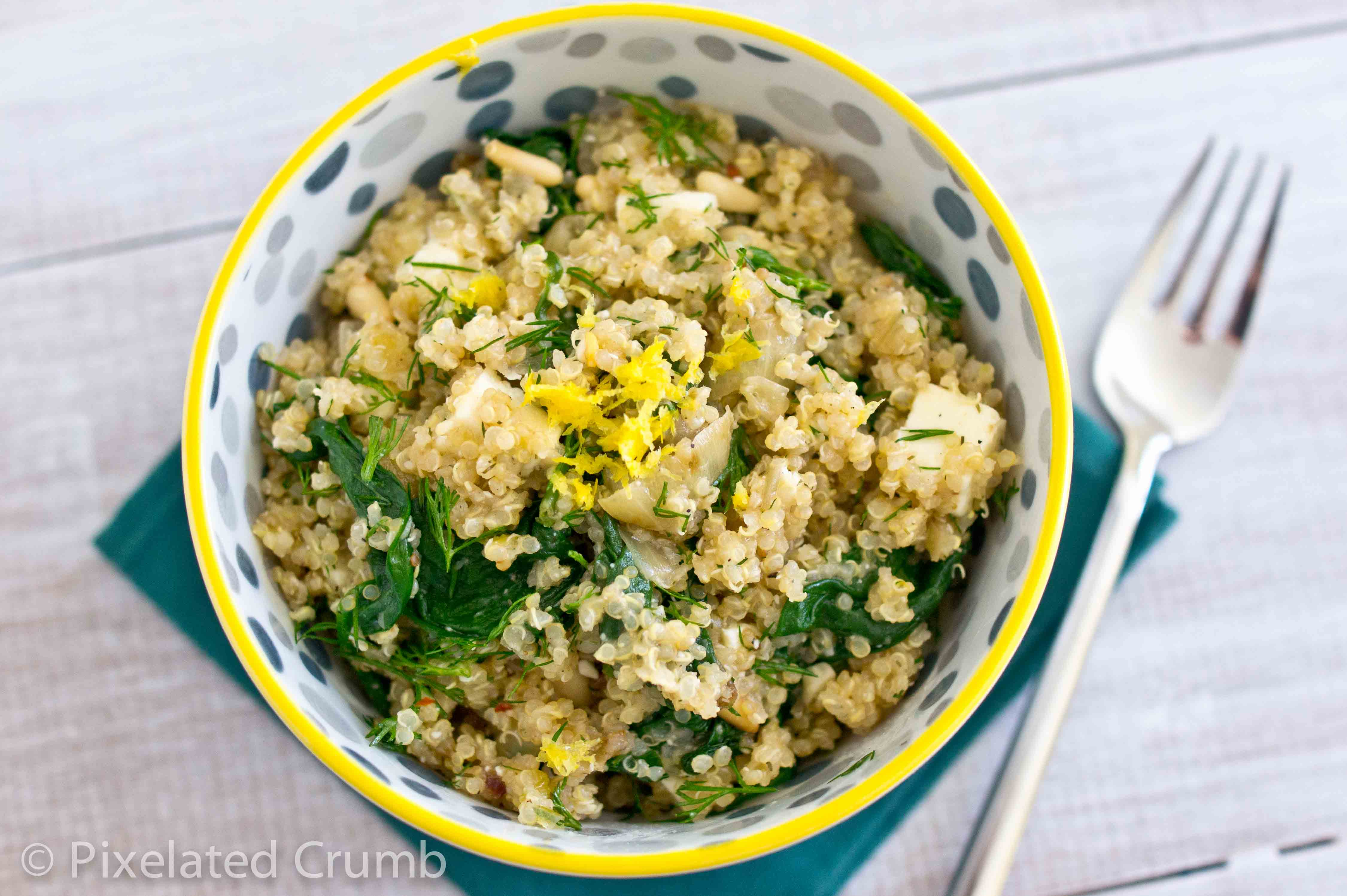 Quinoa Salad with Spinach, Feta, and Dill | Pixelated Crumb