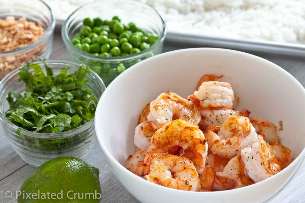 Shrimp, Peas, Mint, Lime, Rice