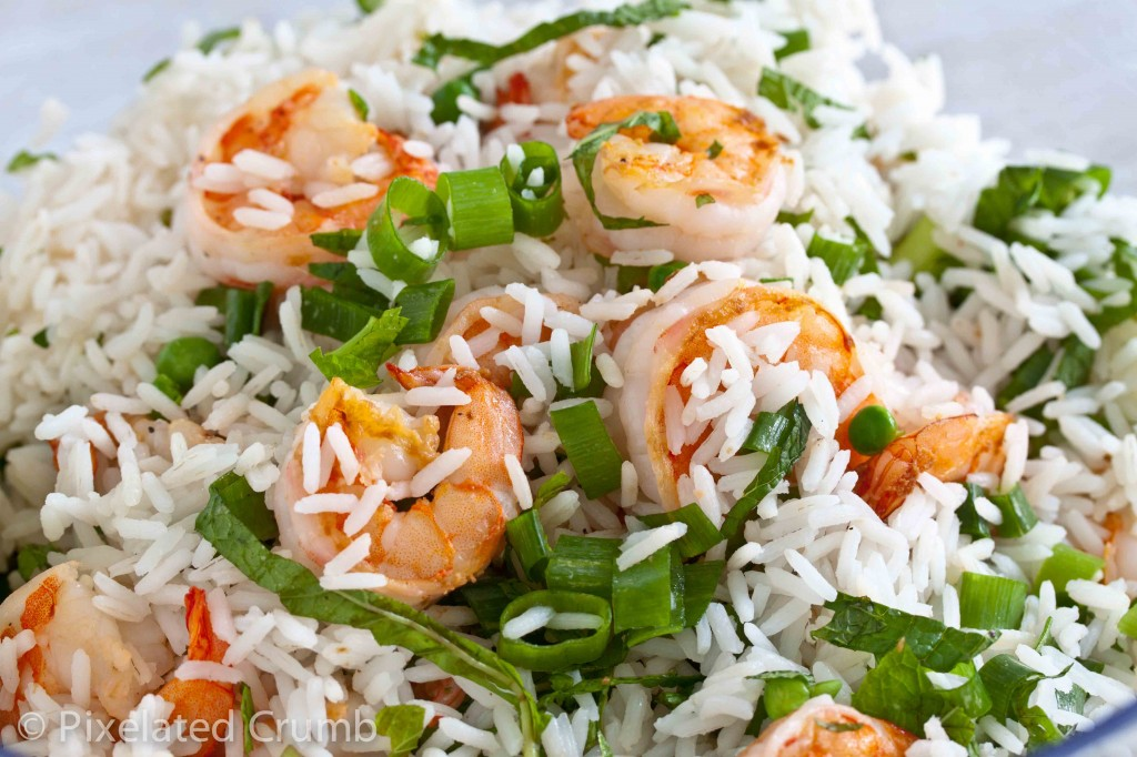 Making Shrimp, Pea, and Rice Salad with Mango Chutney Vinaigrette