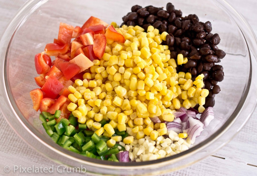 Jalapenos, Corn, Bell Pepper, Black Beans, Red Onion