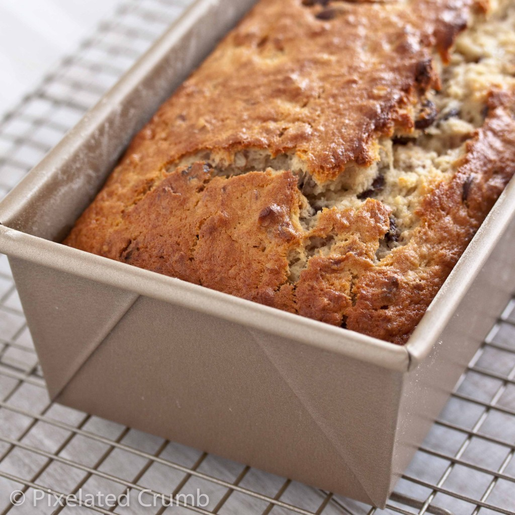 Bourbon and Chocolate Chip Banana Bread out of the oven