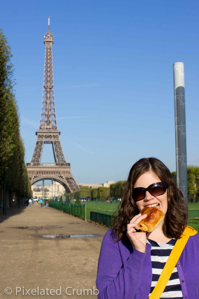 Croissant in front of the Eiffel Tower