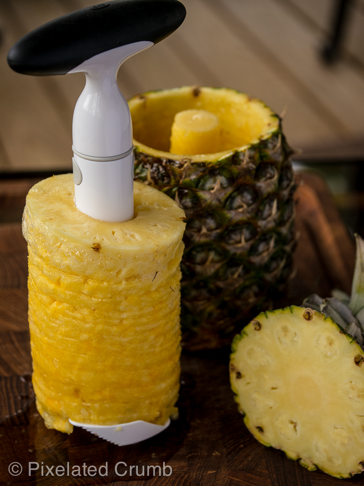 Slicing pineapple with OXO Pineapple Slicer