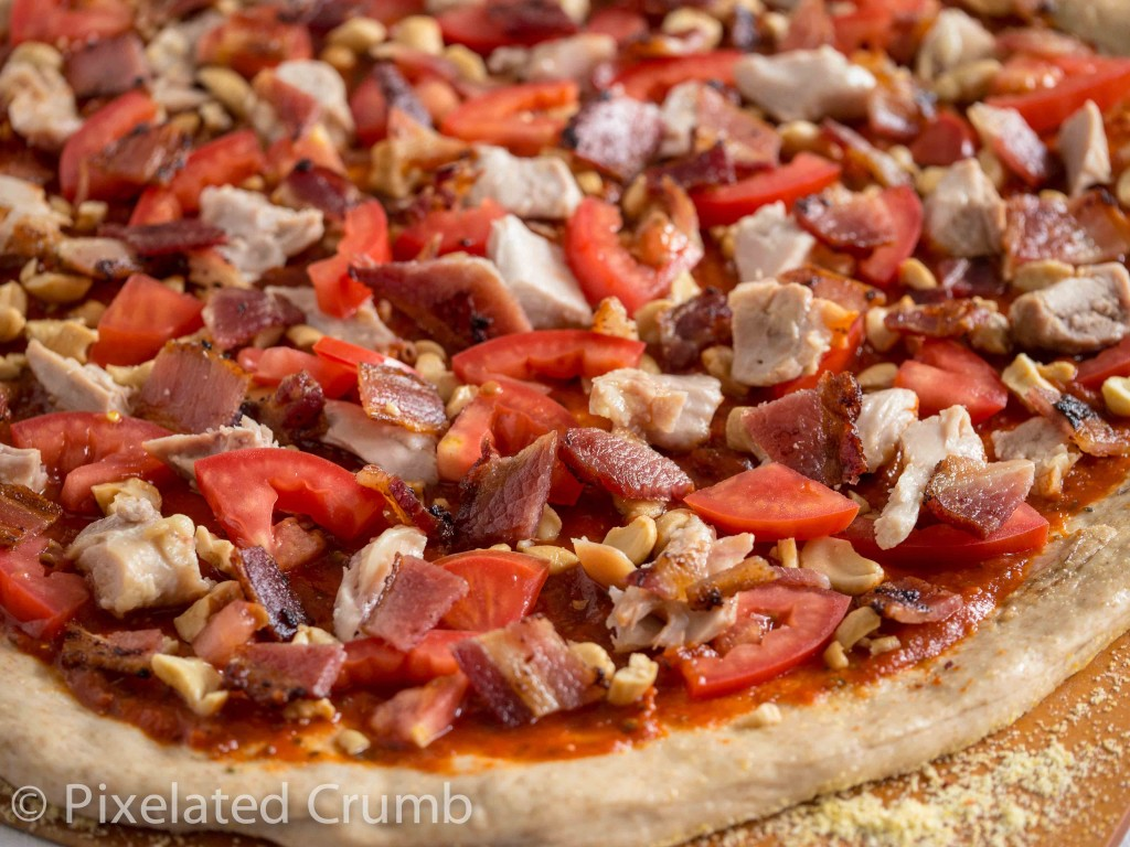 Chicken, Bacon, Cashews and Tomatoes for Chicken Pesto Pizza