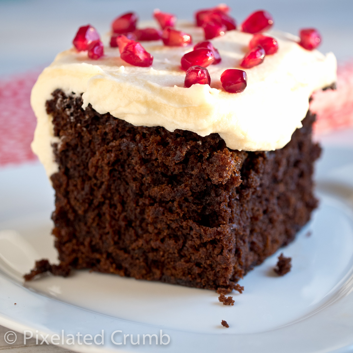 Orange Gingerbread with Cream Cheese Frosting and Pomegranate Seeds